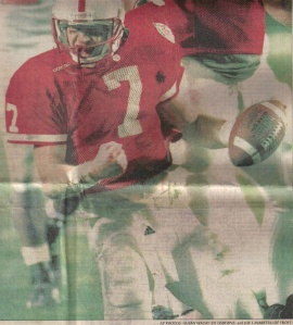 QB Scott Frost, leading the Huskers in the 1998 Orange Bowl.